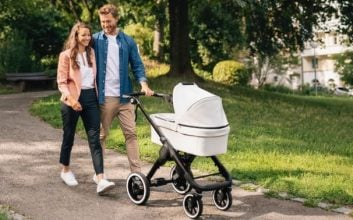 This electric baby stroller has Bluetooth and emergency, autonomous braking