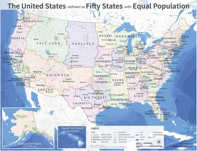 Here's what the US map would look like redrawn by population