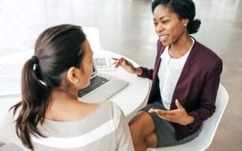Women discussing finances