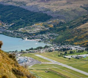Scenic approach from Australia's Queenstown Airport